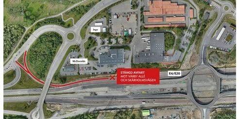 Karta där trafikplats Lindvreten är utritad.