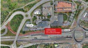 Karta där trafikplats Lindvreten är utmärkt.